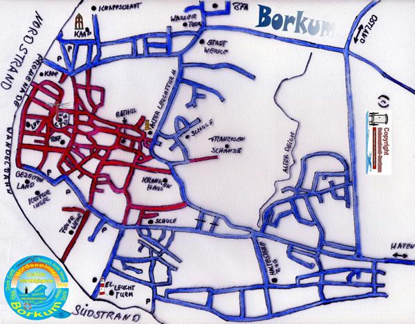 Borkum Karte Fahrradwege.Anreise Nordseeinsel Borkum Faehre Bahn Bus Auto